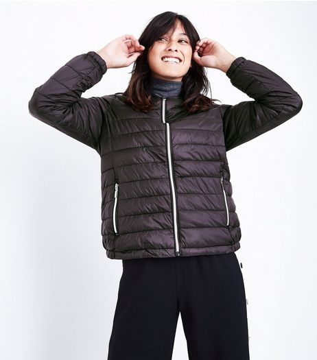 Black Lightweight Puffer Jacket  | New Look