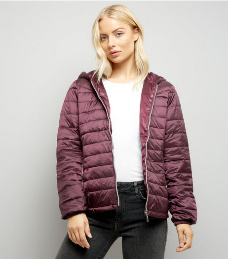 Burgundy Lightweight Puffer Jacket | New Look