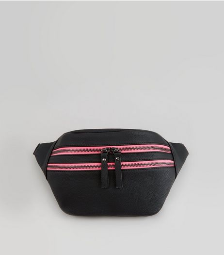 Black Neon Double Zip Bumbag | New Look