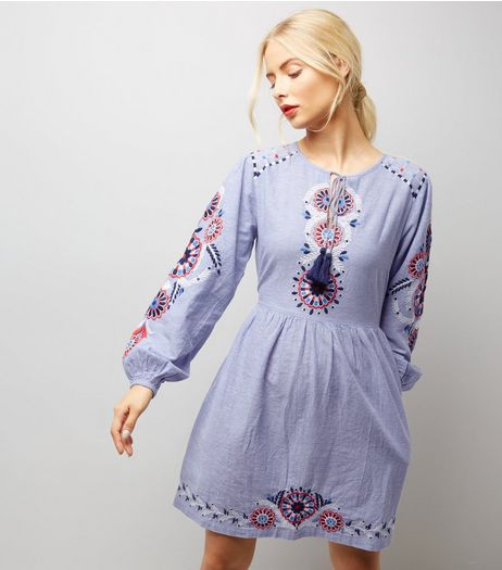 Blue Embroidered Long Sleeve Skater Dress   | New Look