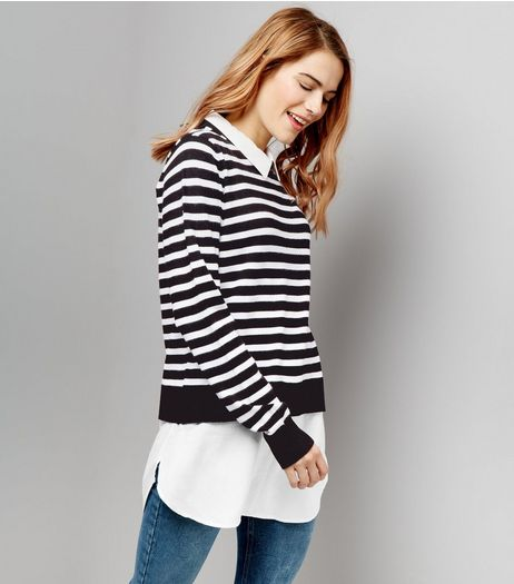 Blue Vanilla Black Stripe 2 in 1 Jumper | New Look