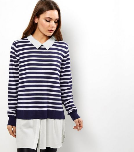 Blue Vanilla Blue Stripe 2 in 1 Jumper  | New Look