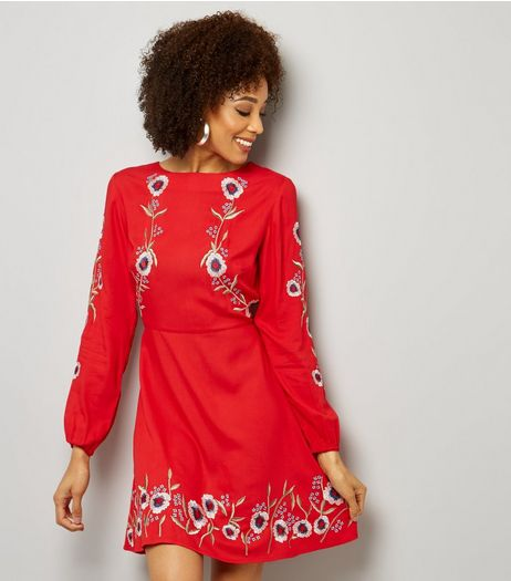 Red Floral Embroidered Long Sleeve Skater Dress  | New Look