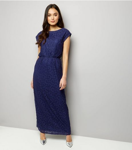 Mela Navy Lace Sleeveless Maxi Dress  | New Look