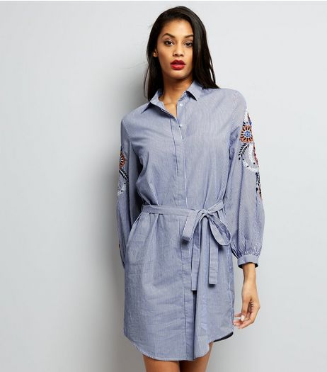 Blue Stripe Embroidered Trim Tie Waist Shirt Dress  | New Look