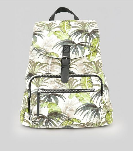 White Palm Print Backpack | New Look