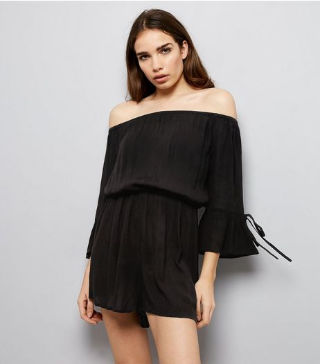Black Tie Sleeve Bardot Neck Playsuit  | New Look