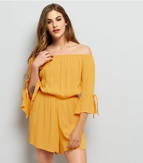 Yellow Tie 3/4 Sleeve Bardot Neck Playsuit  | New Look
