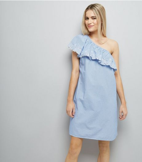 Blue Stripe Crochet Lace Off the Shoulder Dress  | New Look