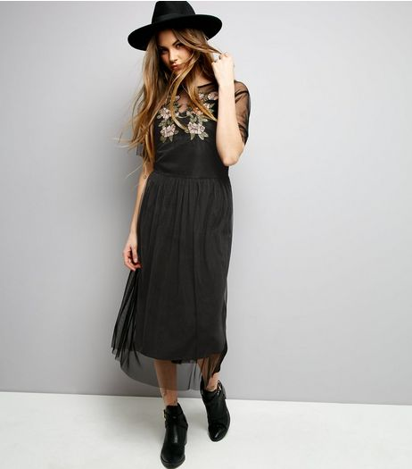 Black Mesh Floral Embroidered Smock Dress  | New Look