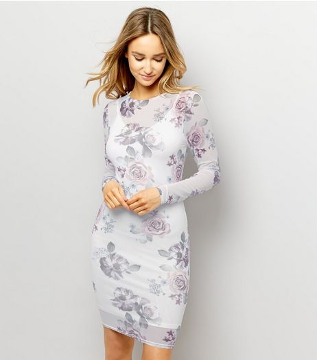 White Floral Print Mesh Long Sleeve Bodycon Dress  | New Look
