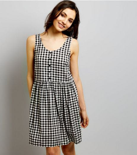 Black Gingham Check Button Front Smock Dress | New Look