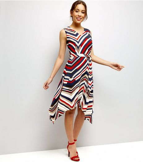 Mela Navy Chevron Stripe V Neck Waterfall Dress | New Look