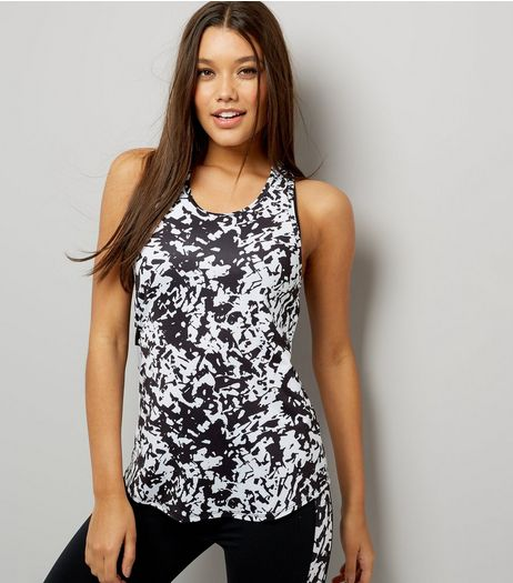 Black Monochrome Mesh Racer Back Sports Vest | New Look