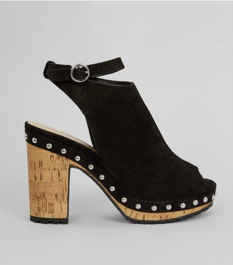 Black Suede Stud Side Heeled Clogs | New Look