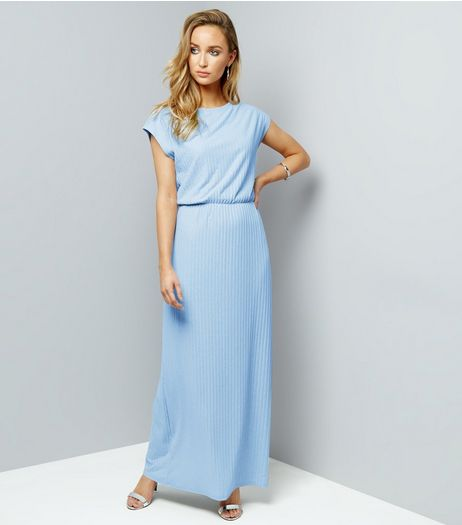 Mela Pale Blue Metallic Ribbed Maxi Dress | New Look