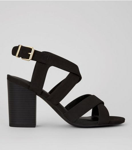 Black Suedette Cross Strap Front Block Heels | New Look