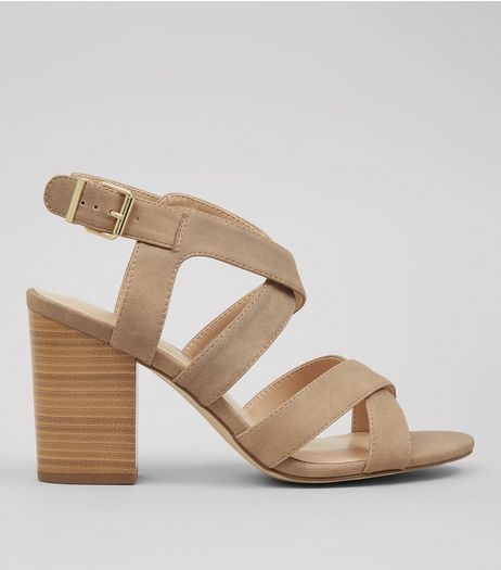 Mink Suedette Cross Strap Block Heels | New Look