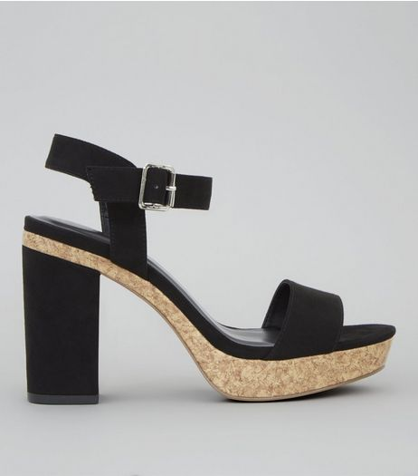Black Suedette Cork Trim Platform Heels | New Look