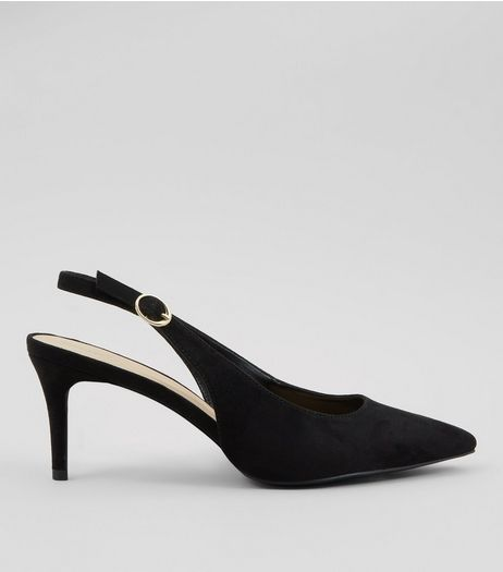 Black Sling Back Kitten Heels | New Look