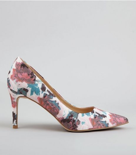 Pink Floral Print Pointed Court Shoes | New Look