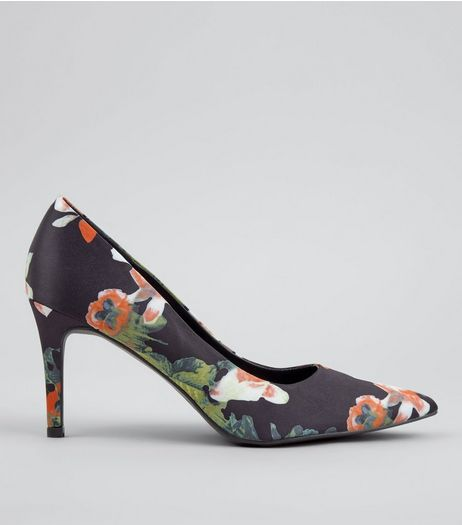 Black Floral Print Pointed Court Shoes | New Look
