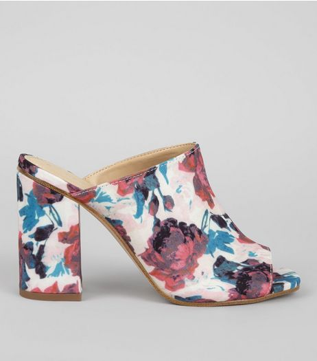 Pink Floral Printed Mules | New Look