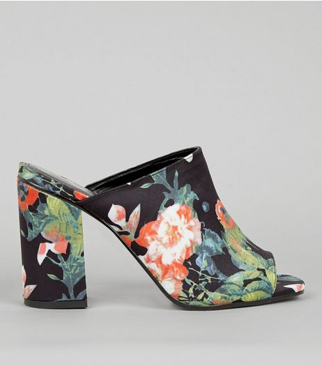 Black Floral Print Heeled Mules | New Look