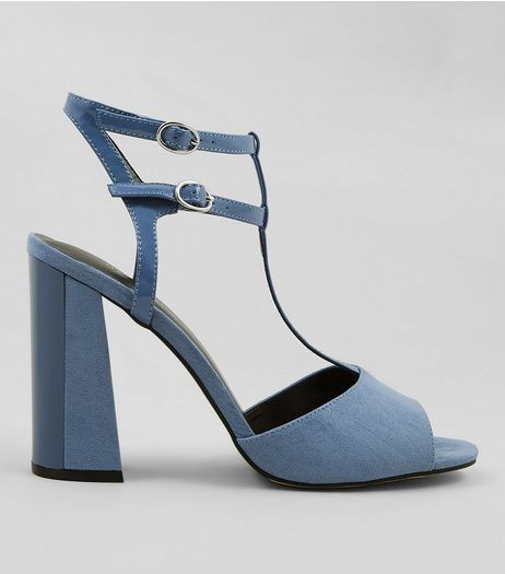 Blue Suedette Contrast Flared Block Heels | New Look