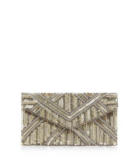Gold Embellished Clutch Bag | New Look