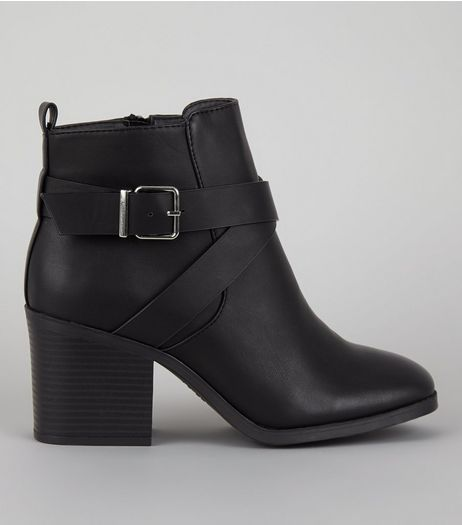 Wide Fit Black Square Toe Heeled Boots | New Look