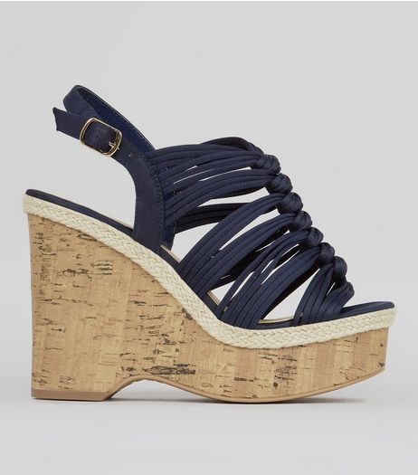 Wide Fit Navy Satin Wedges  | New Look