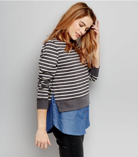 Blue Vanilla Dark Grey Stripe 2 In 1 Sweater | New Look
