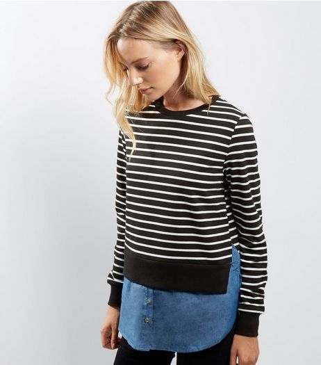 Blue Vanilla Black 2 in 1 Stripe Sweater  | New Look