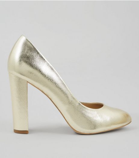 Wide Fit Gold Block Heel Court Shoes | New Look