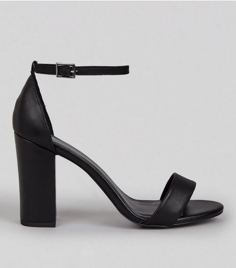 Black Leather Ankle Strap Heeled Sandals | New Look