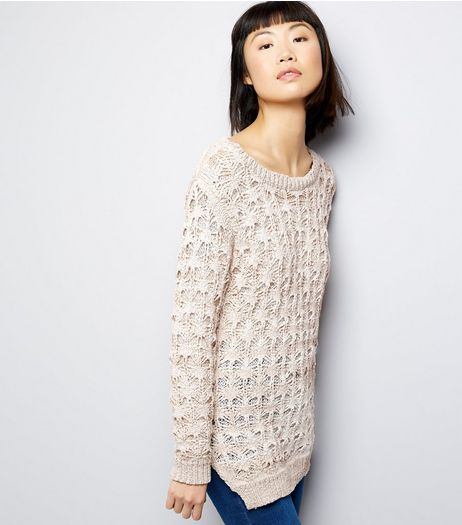Blue Vanilla Cream Lace Knit Longline Jumper | New Look