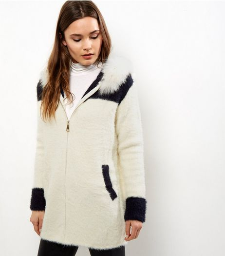 Blue Vanilla Cream Colour Block Faux Fur Hooded Cardigan | New Look