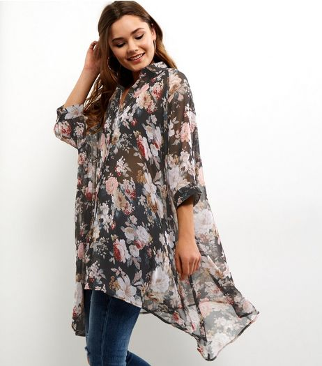 Blue Vanilla Black Floral Longline Waterfall Shirt | New Look