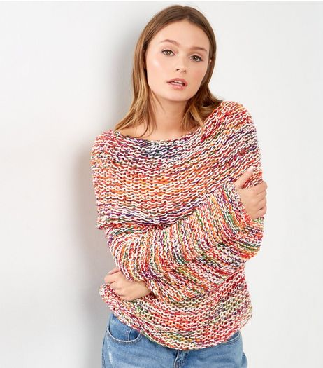 Blue Vanilla Multicoloured Cowl Neck Jumper  | New Look