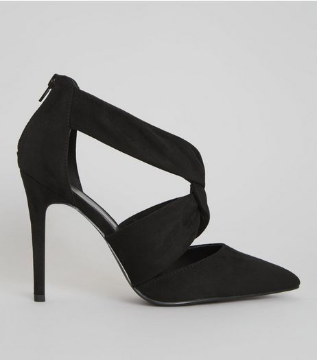 Wide Fit Black Suedette Twist Strap Pointed Heels | New Look