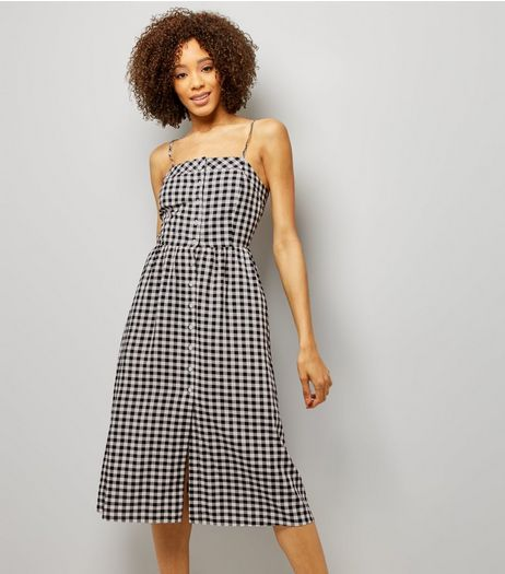 Black Gingham Tie Back Midi Dress  | New Look