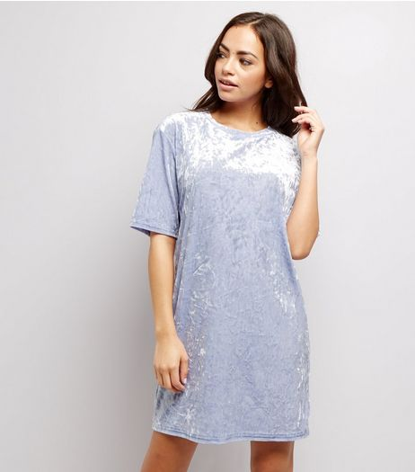 Pale Blue Crushed Velvet Tunic Dress | New Look