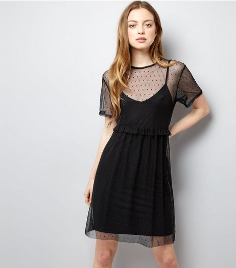Black Frill Trim Mesh Smock Dress | New Look