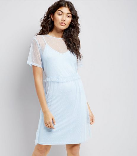 Pale Blue Frill Trim Mesh Smock Dress | New Look