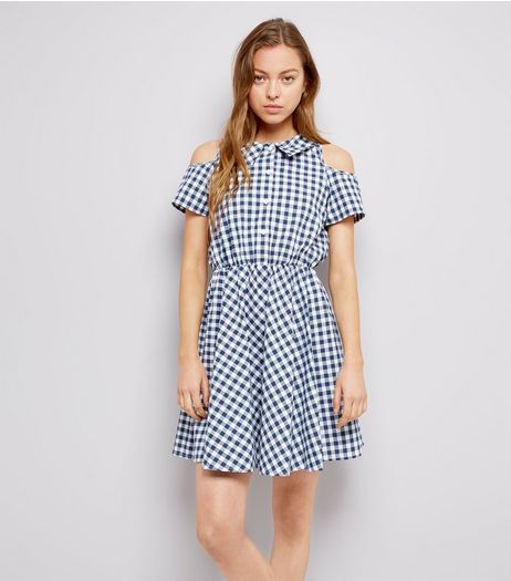 Blue Vanilla Navy Gingham Cold Shoulder Dress  | New Look