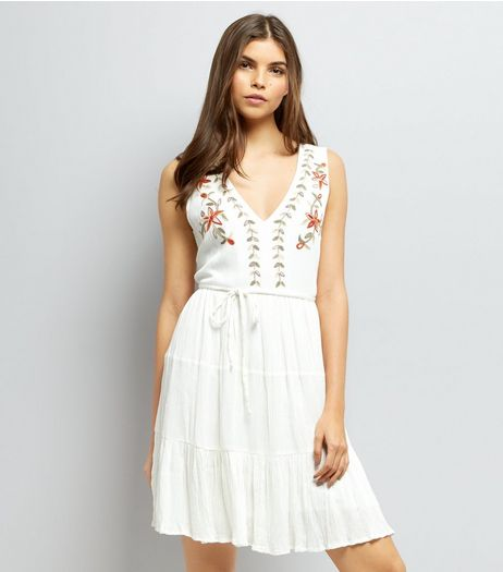 White Floral Embroidered Dress | New Look