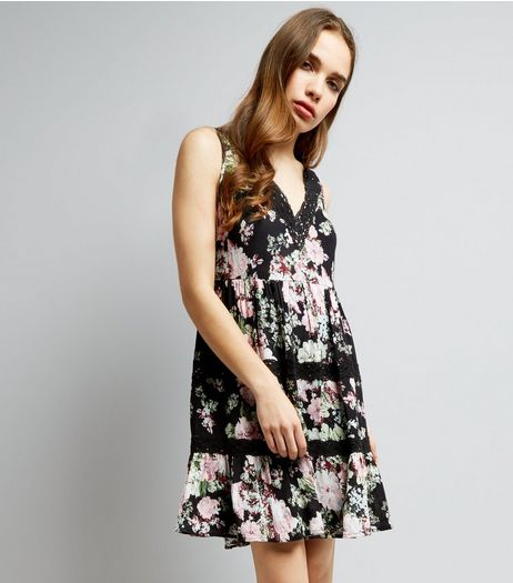 Black Floral Print Crochet Trim Dress | New Look