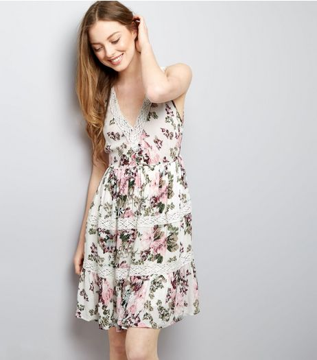 Cream Floral Print Crochet Trim Dress | New Look