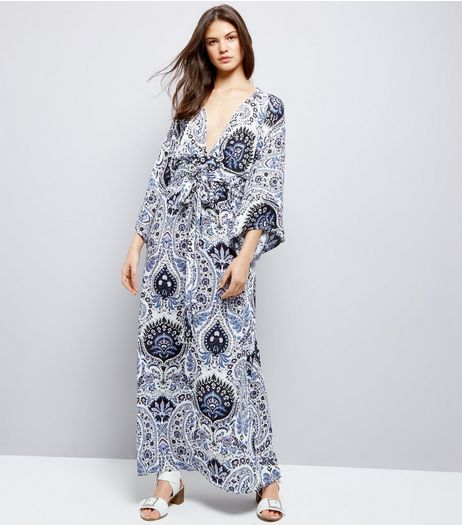 Blue Vanilla Navy Abstract Print Kimono Maxi Dress  | New Look